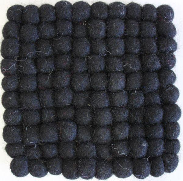 Untersetzer aus Filz, 18 x 18 cm, schwarz
