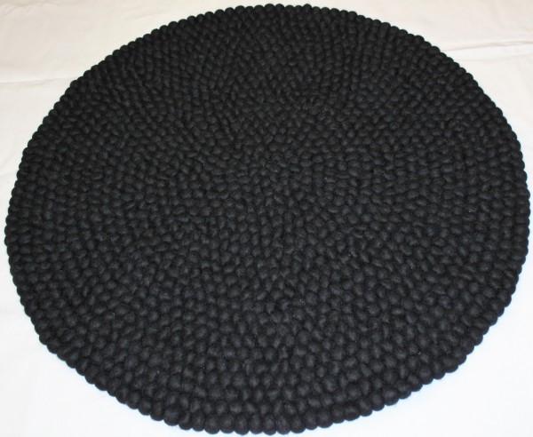 Teppich aus Filzkugeln, 90 cm, schwarz