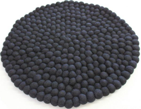 Stuhlkissen aus Filz, rund 40 cm, schwarz